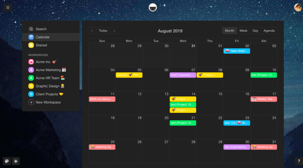 Taskade Night Mode Team Calendar