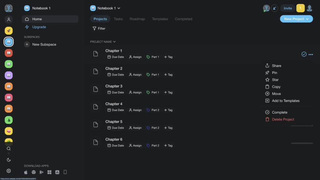 Taskade writing workflow project organization.