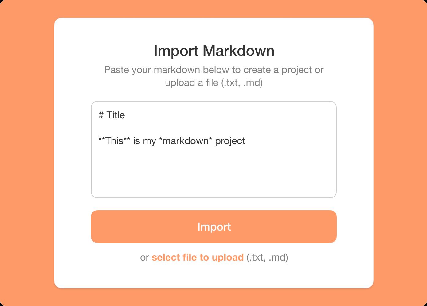 taskade import markdown